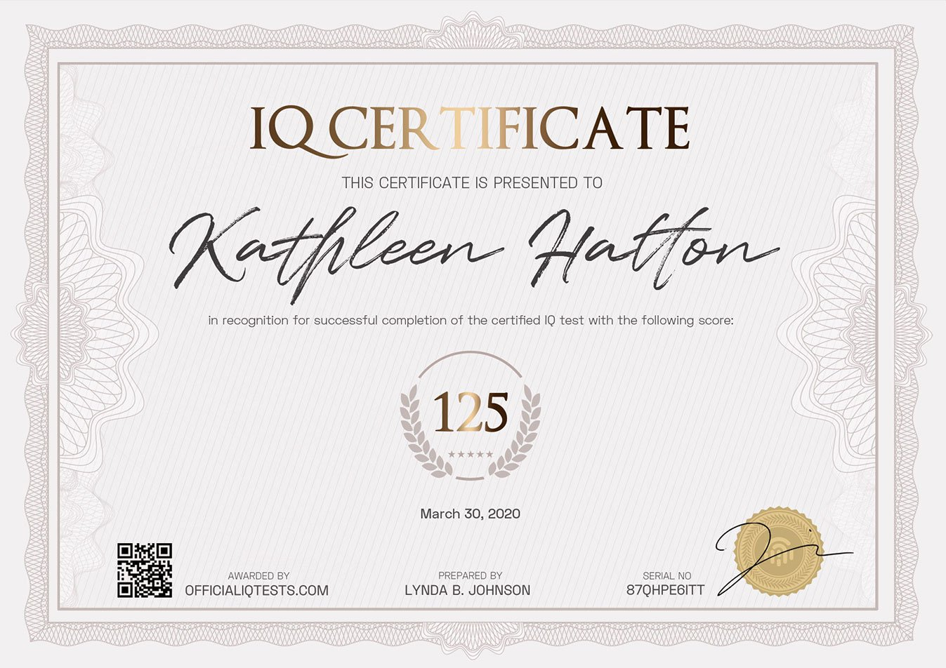 Sample IQ Certificate